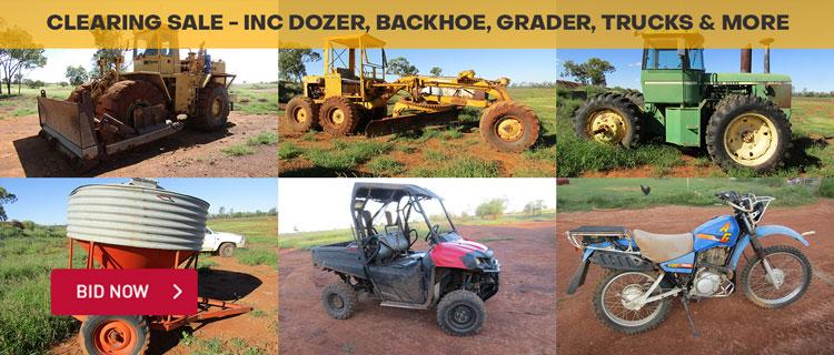 Clearing Sale - Inc Dozer, Backhoe, Grader, Trucks & More