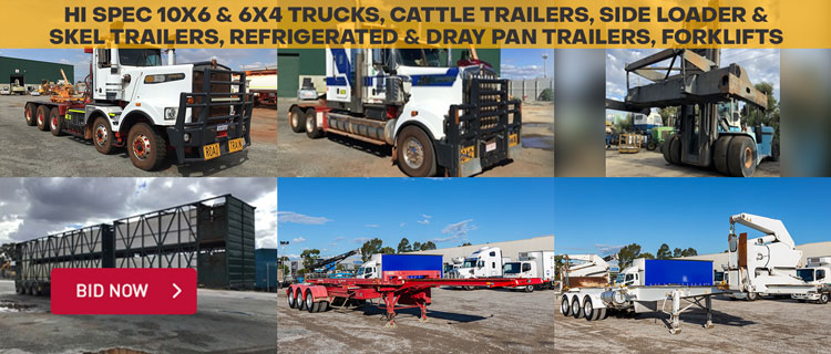 Hi Spec 10x6 & 6x4 Trucks, Cattle Trailers, Side Loader & Skel Trailers, Refrigerated & Dray Pan Trailers, Forklifts