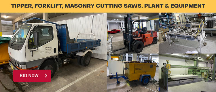 Tipper, Forklift, Masonry Cutting Saws, Plant & Equipment