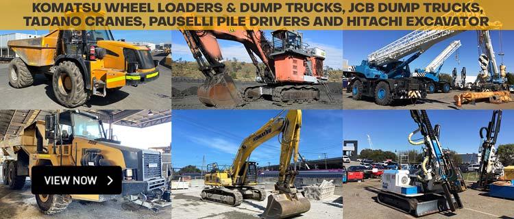 Komatsu Wheel Loaders & Dump Trucks, JCB Dump Trucks, Tadano Cranes, Pauselli Pile Drivers and Hitachi Excavator