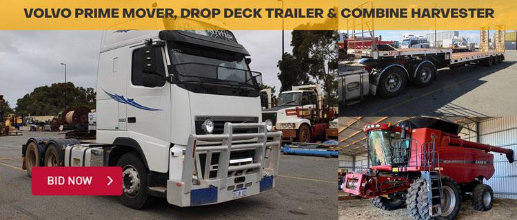 Volvo Prime Mover, Drop Deck Trailer & Combine Harvester