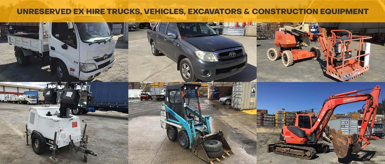 Unreserved Ex Hire Trucks, Vehicles, Excavators & Construction Equipment
