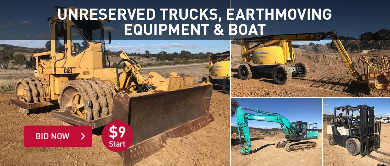 Unreserved Trucksm earthmoving equipment & boat