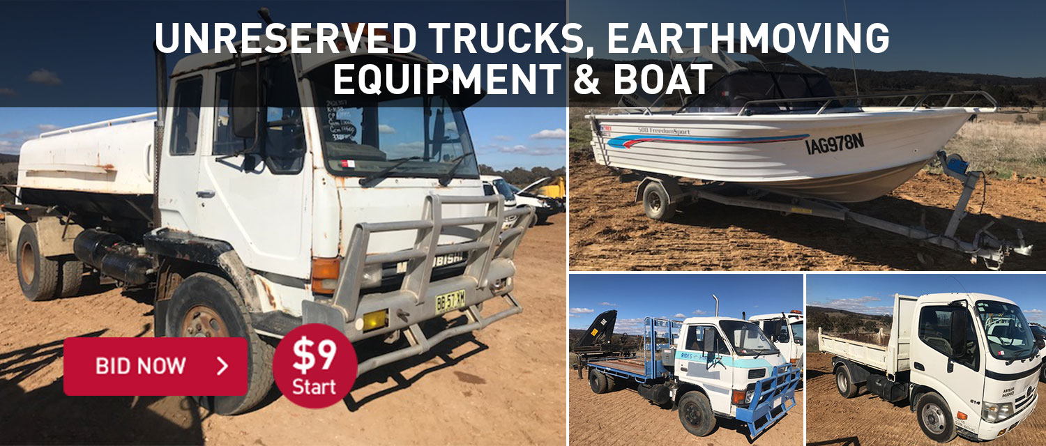 Unreserved trucks, earthmoving equipment & boat