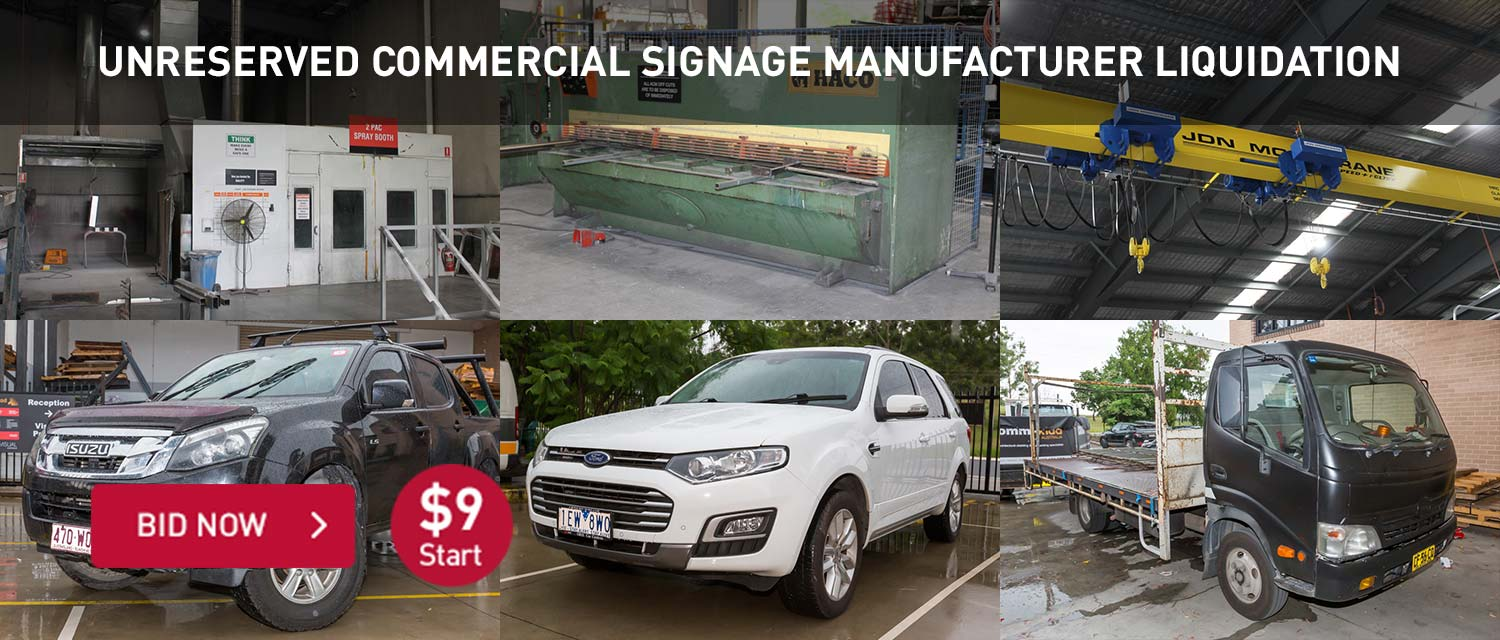 Unreserved Commercial Signage Manufacturer Liquidation