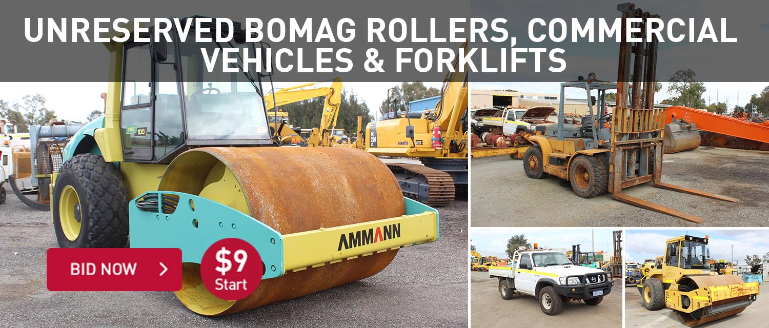 Unreserved bomag rollers, commercial vehicles and forklifts