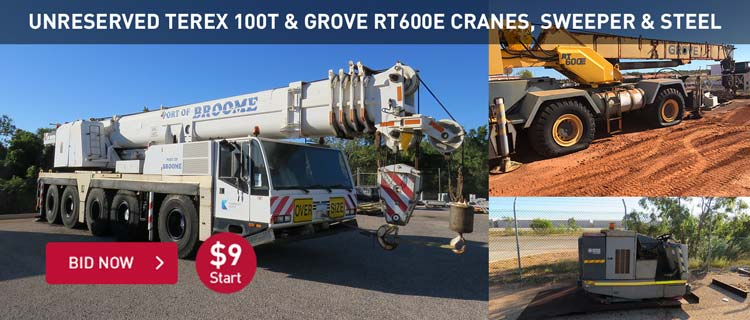 Unreserved Terex 100T & Grove RT600E Cranes & Sweeper