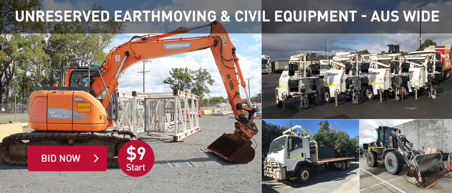 Unreserved earthmoving & civil equipment AUS WIDE