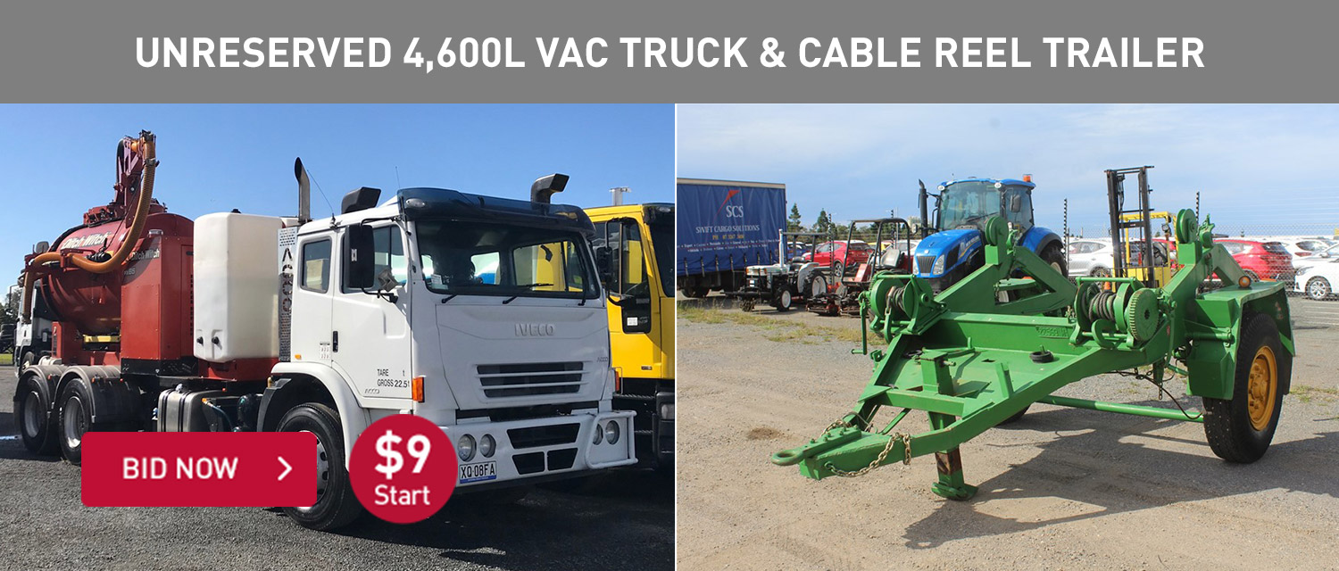 Unreerved 4,600l vac truck & cable reel trailer