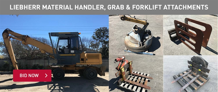 Liebherr material handler, grab and forklift attachments