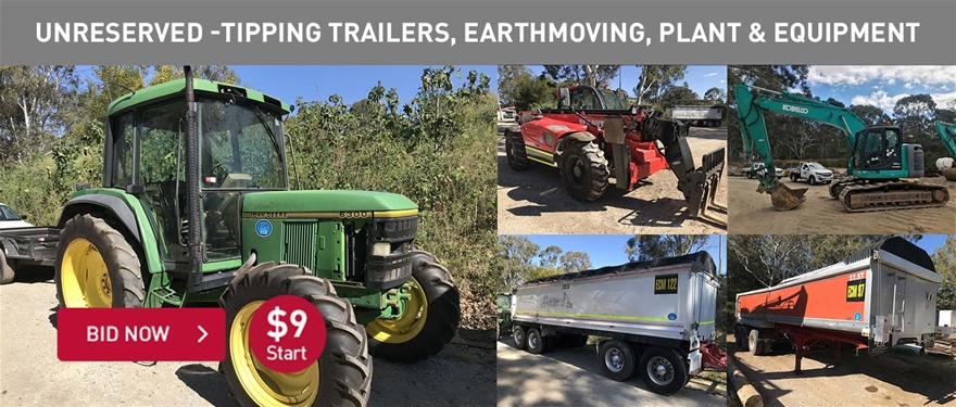Unrserved tipping trailers, earthmoving, plant and equipment