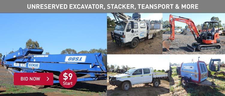 Unreserved Excavator, Stacker, Transport, Tooling & More