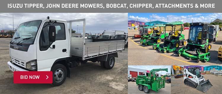Isuzu Tipper, John Deere Mowers, Bobcat, Chipper, Attachments & More