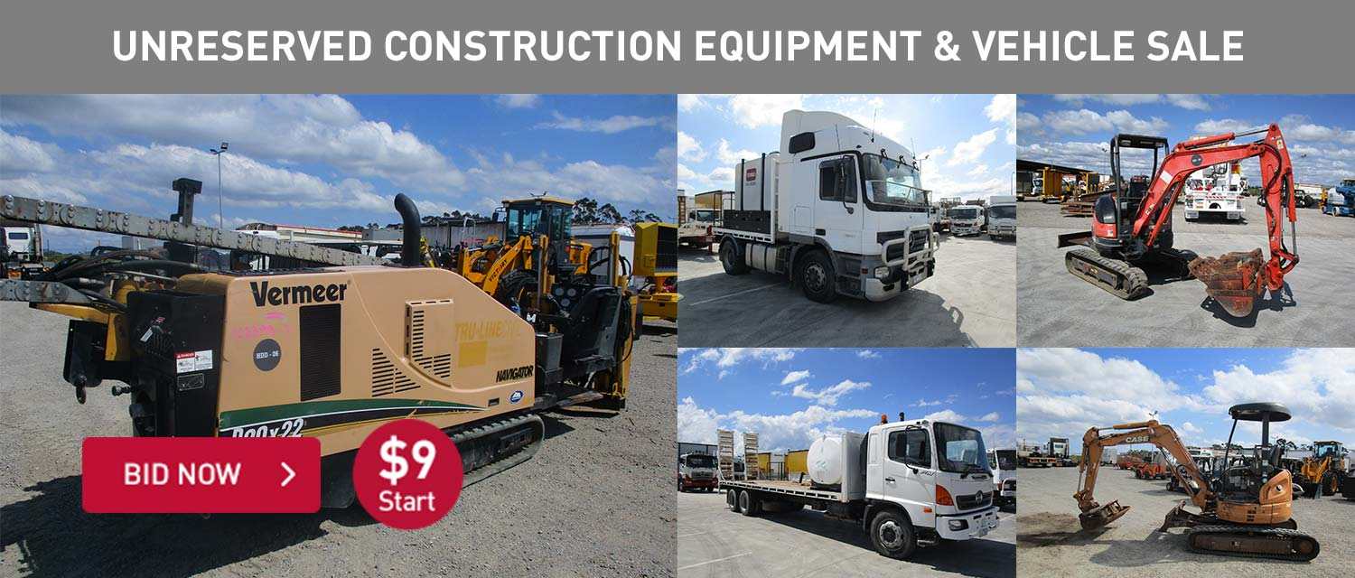 Unrserved construction equipment and vehicles sale