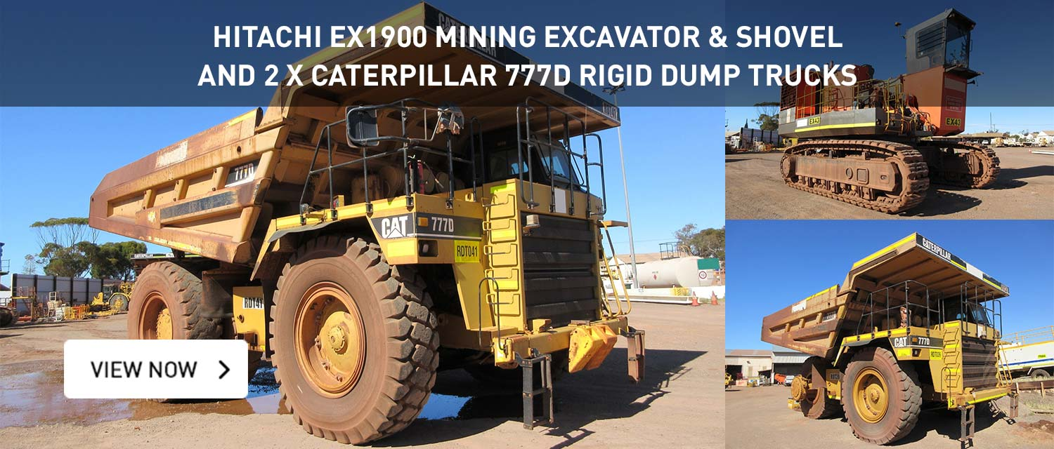 Hitachi EX1900 Mining Excavtor and Shovel and 2x Catepillar 777D Rigid Dump Trucks