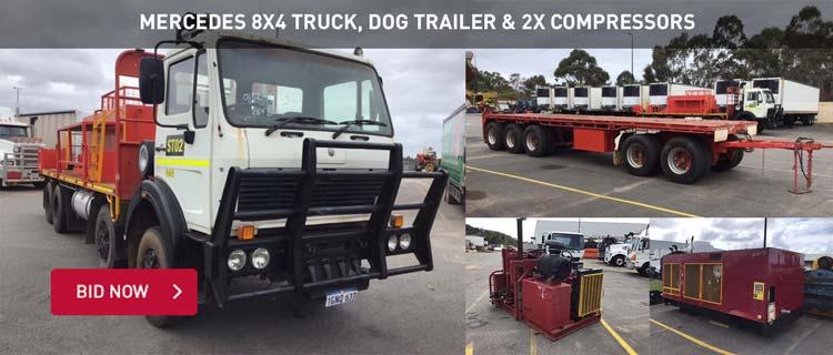 Mercedes 8x4 Truck & 2x Compressors