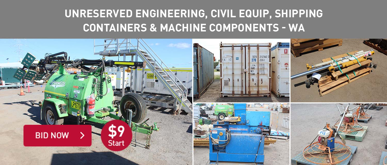 Unreserved engineering, civil equip, shipping containers and machine components WA