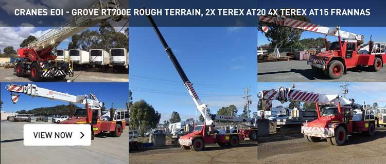 Cranes EOI - Grove RT700E Rough Terrain, 2x Terex AT20 4x Terex AT15 Franna's