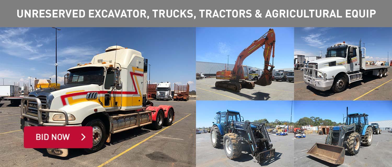 Unreserved Excavator, Trucks, Tractors & Agricultural Equip