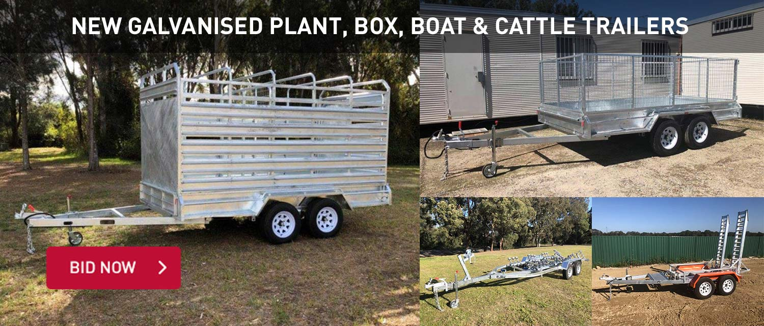 New Galvanised Plant, Box, Boat & Cattle Trailers