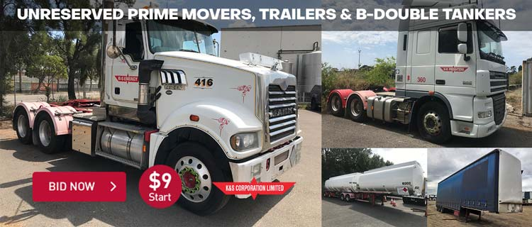 Unreserved Prime Movers and B Double Tanker Trailers