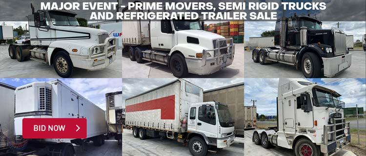 Major Event - Prime Movers, Semi Rigid Trucks and Refrigerated Trailer Sale