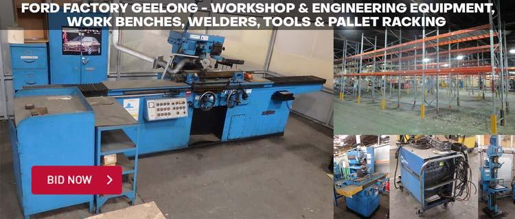 Ford Factory Geelong - Workshop & Engineering Equipment, Work Benches, Welders, Tools & Pallet Racking
