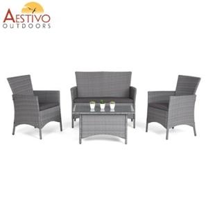 Enjoyable 4 Piece Pe Rattan Outdoor Furniture Set Taupe Home Interior And Landscaping Ologienasavecom