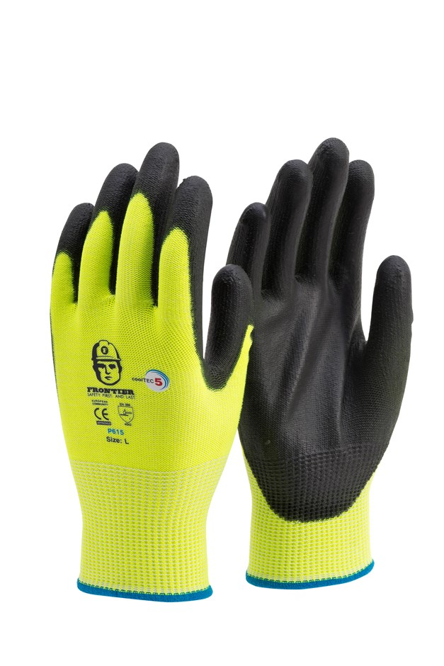 12 Pairs x Hi-Vis Seamless Gloves, Size S, PU Coated. Buyers Note - Discoun