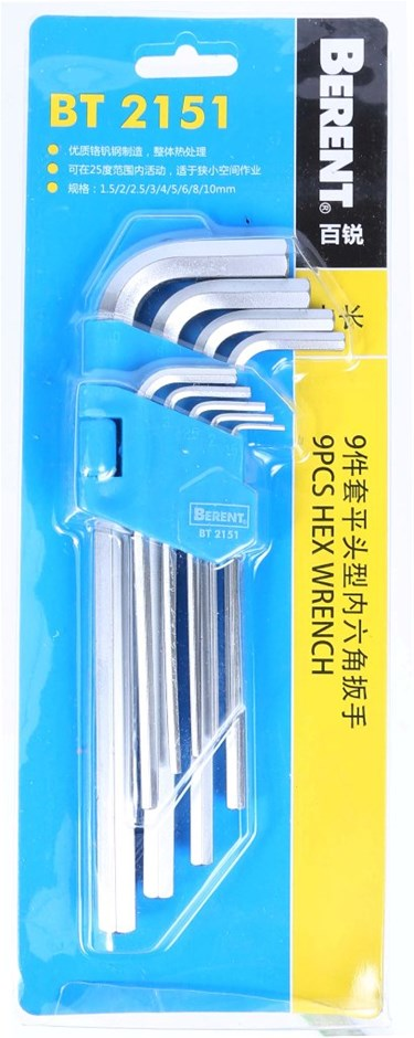 2 x BERENT 9pc Hex Wrench Sets, 1.5 To 10mm. Buyers Note - Discount Freight