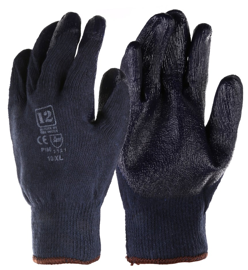 12 Pairs x Heavy Duty Poly/ Cotton Work Gloves with Latex Palm Grip, Size X
