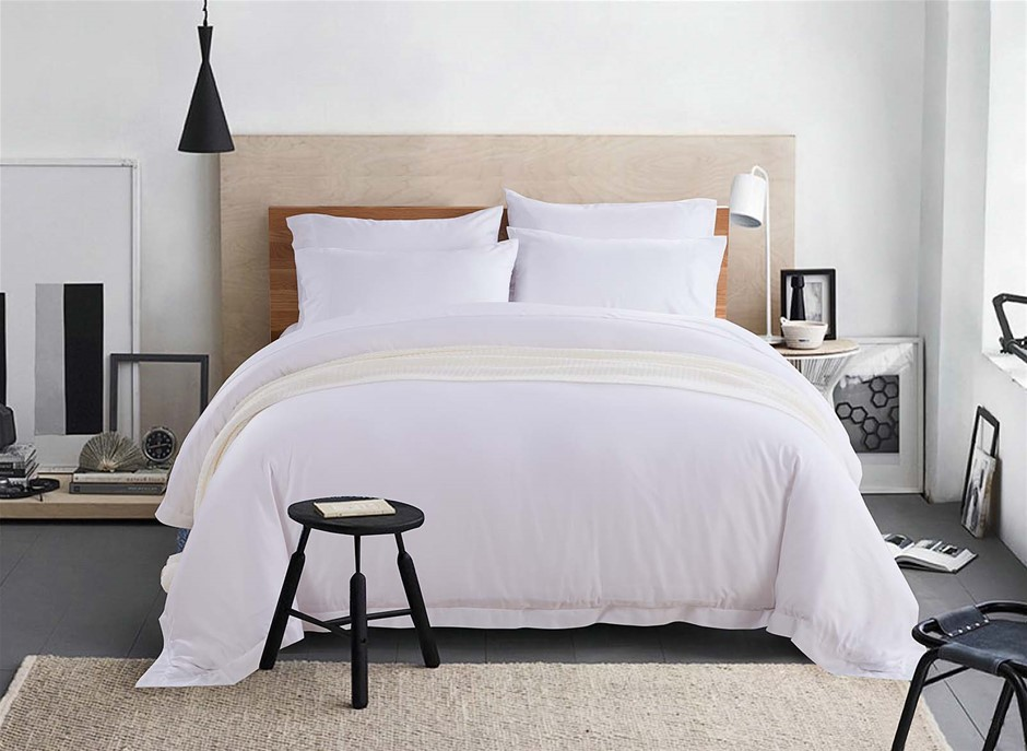100% Bamboo Linen - Quilt Cover Set 375 Thread Count White - QUEEN