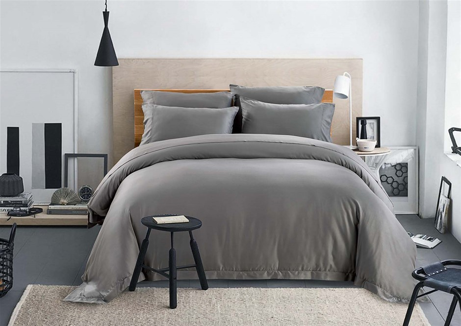 100% Bamboo Linen - Quilt Cover Set 375 Thread Count Charcoal - QUEEN