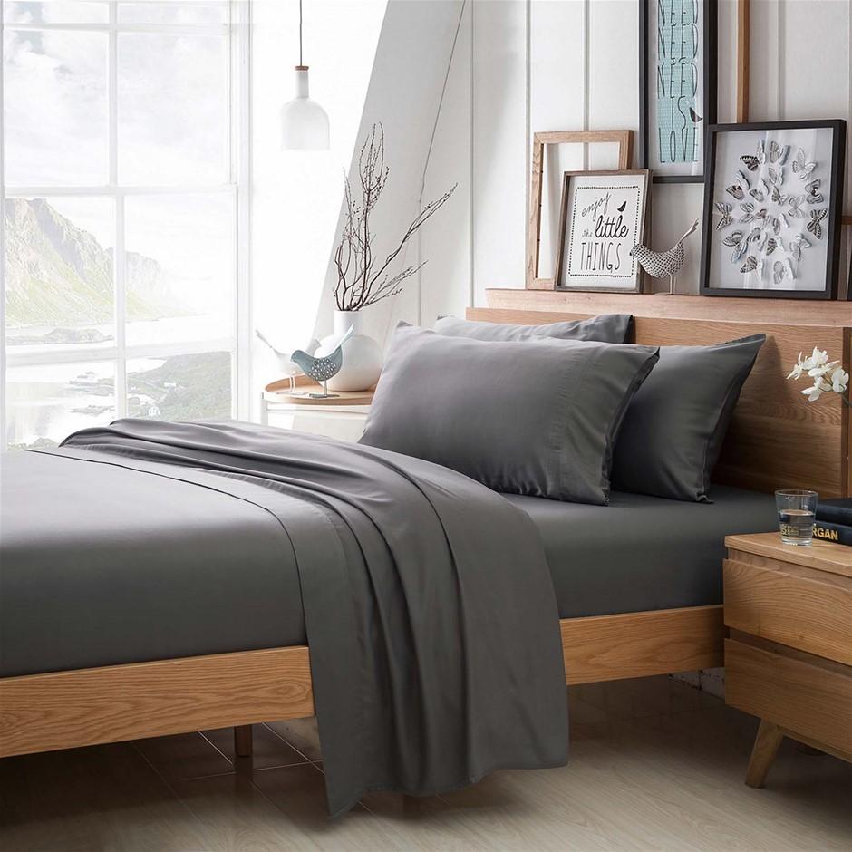 100% Bamboo Linen - Sheet Set 375 Thread Count Charcoal - KING