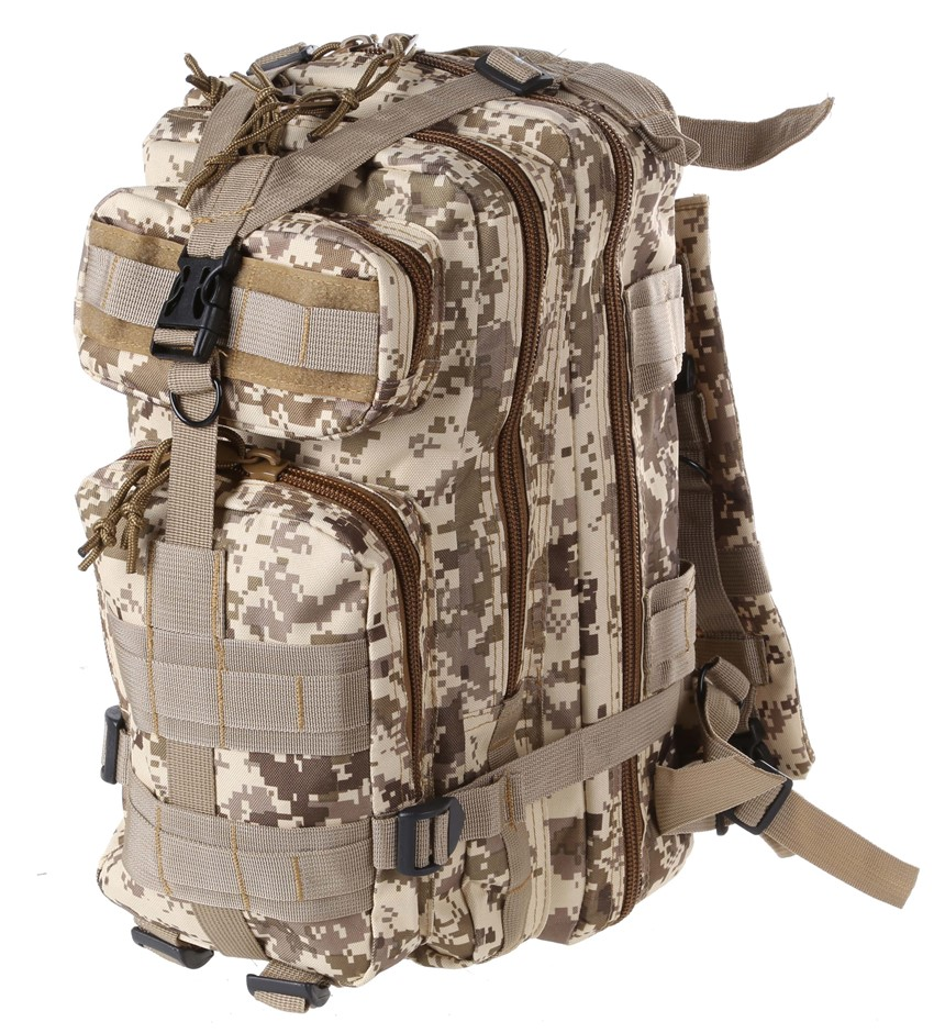 Camo Outdoor Back Pack 44cm x 30cm x 22cm, Multi-Zip Compartments. Buyers N