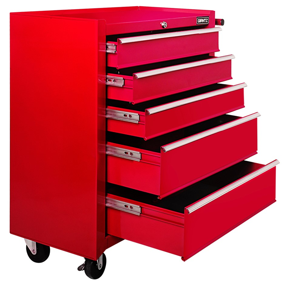 Giantz 5 Drawer Mechanic Tool Box Storage Trolley - Red