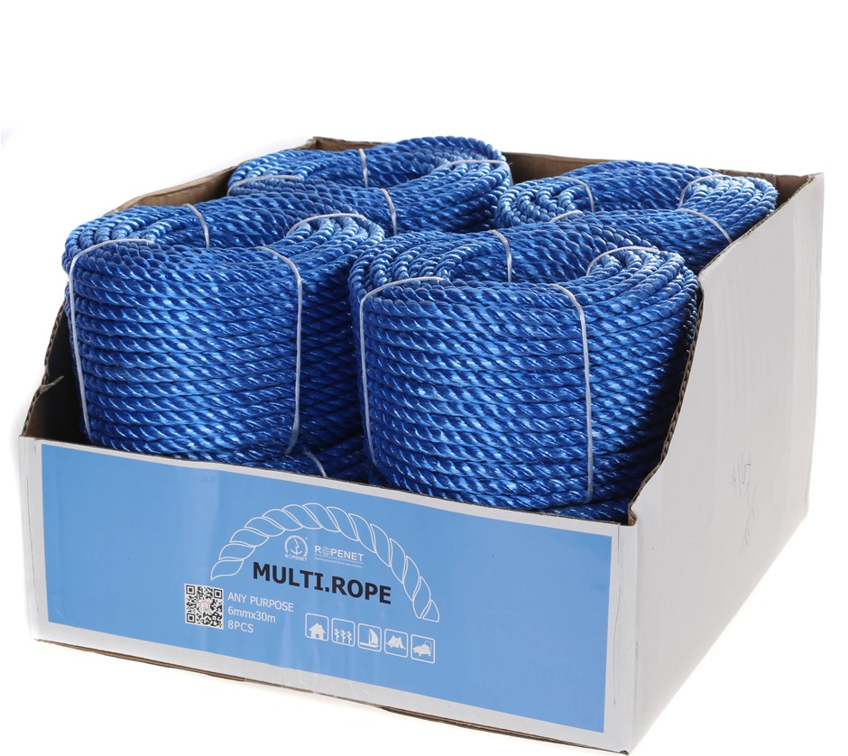 8 Coils x Multi-Purpose Poly. Rope 6mm x 30M, Blue. Buyers Note - Discount