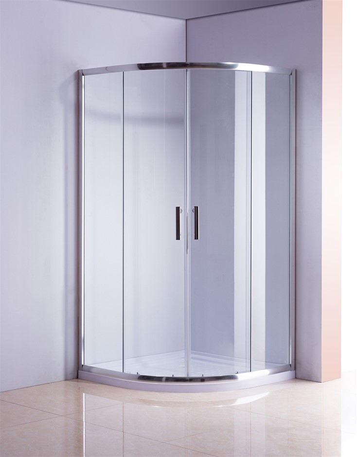 Rounded Sliding Curved Framed Shower Screen 6mm Toughened Glass with Base