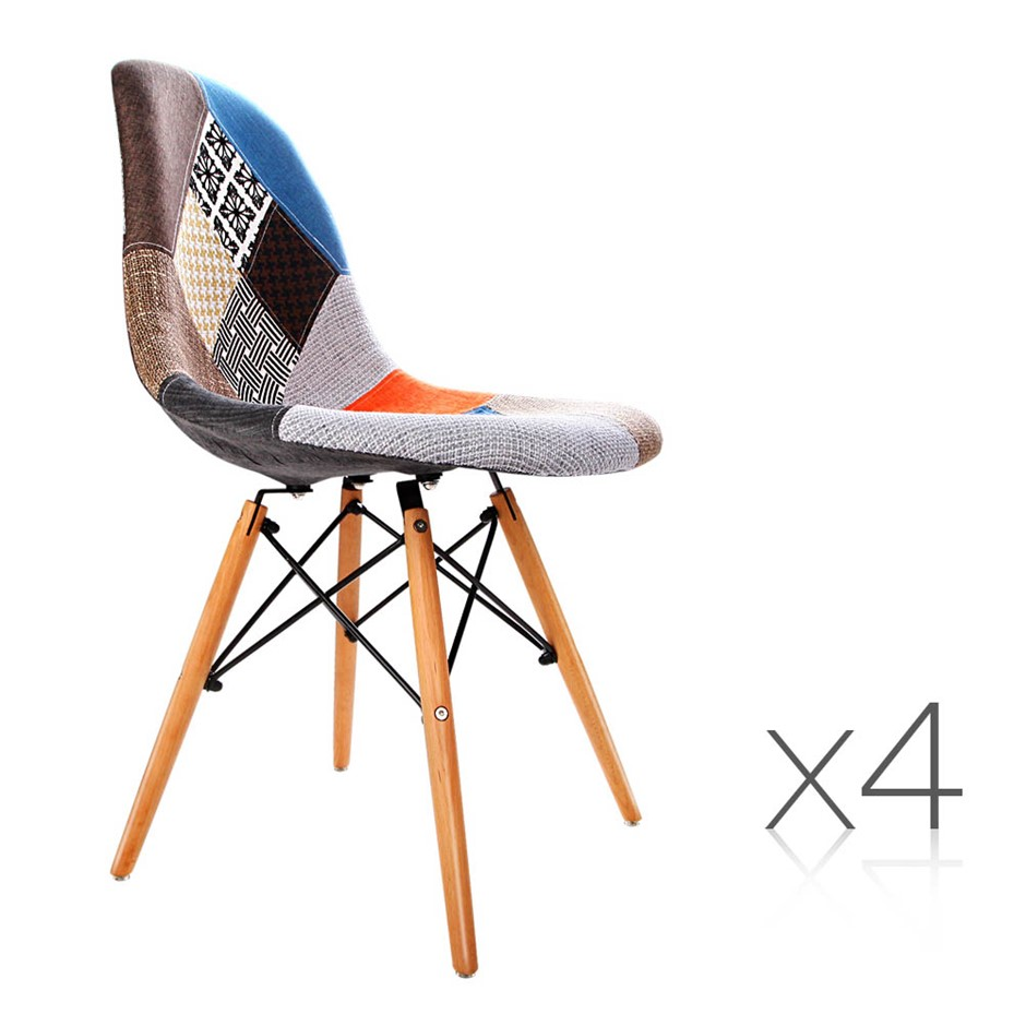 4 x Eames Inspired Fabric Dining Chairscheap dining chairs melbourne   Graysonline. Set Of 4 Replica Eames Eiffel Dsw Dining Chair White. Home Design Ideas
