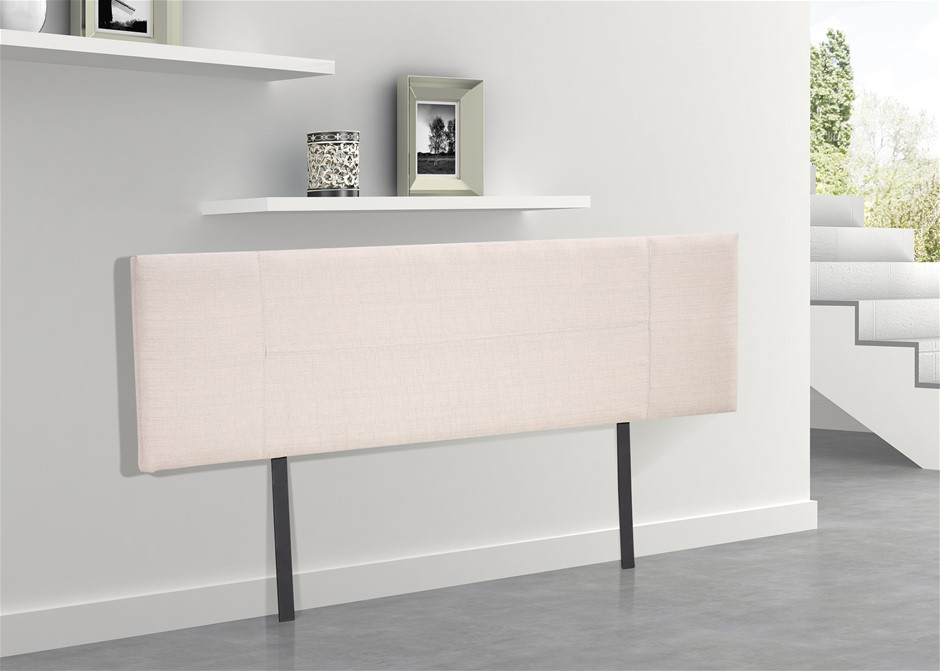 Linen Fabric King Bed Headboard Bedhead - Beige