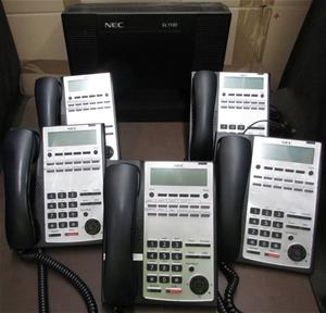 NEC SL1100 Phone System KSU, with 5 NEC IP4WW-12TXH-B-TEL (BK) Handsets,