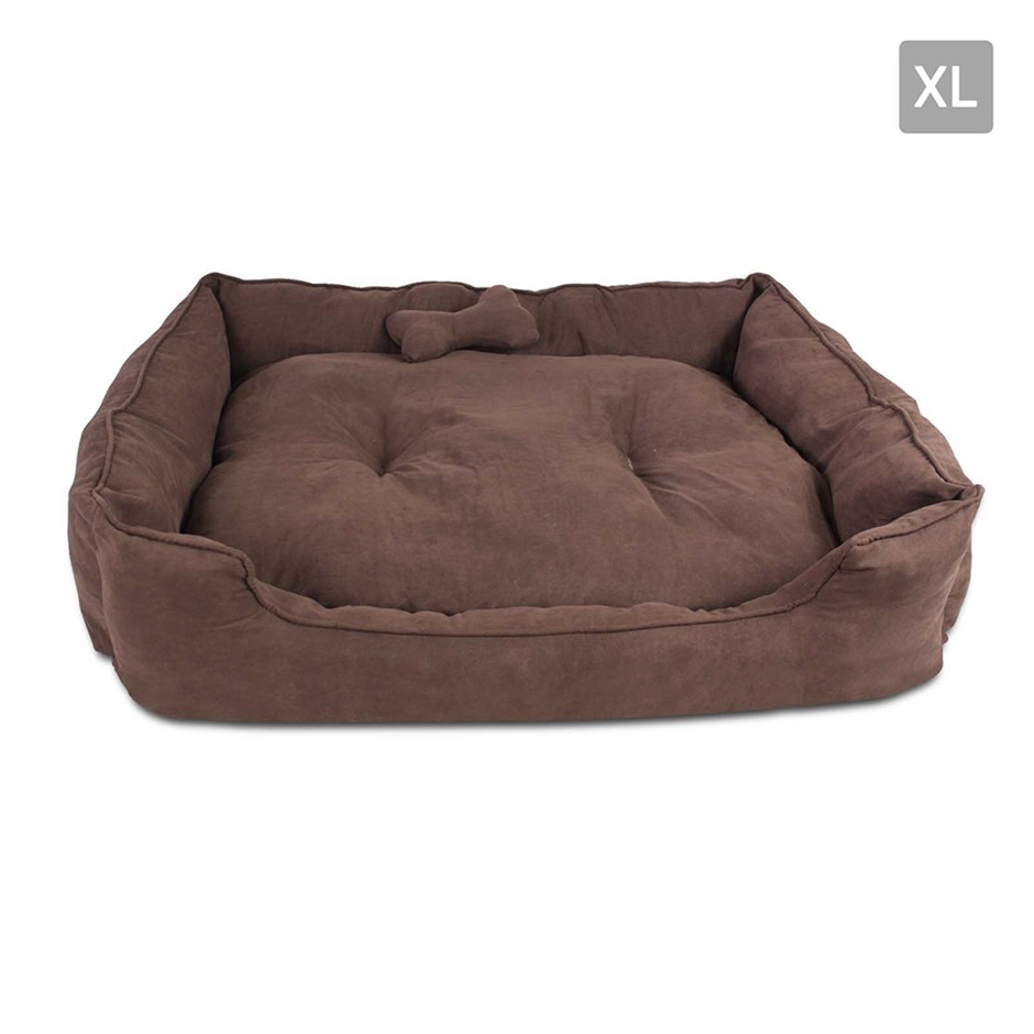 i.Pet Extra Large Faux Suede Washable Pet Bed - Brown