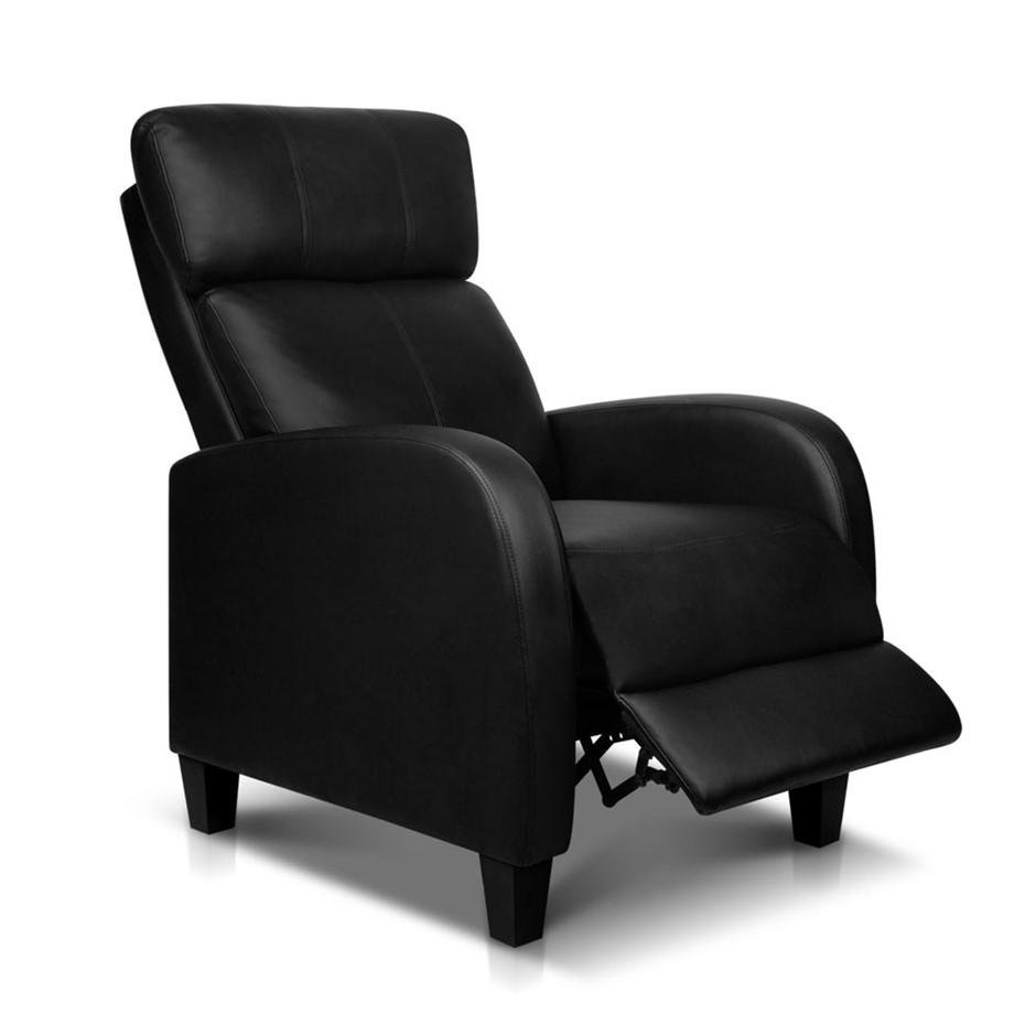 Pu Leather Armchair Recliner Black