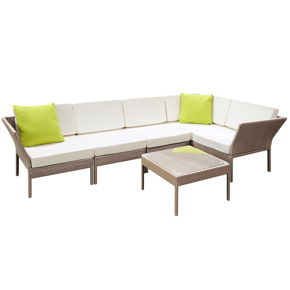 Stackable 6 Pc Brown Wicker Outdoor 5 Seater Furniture Set Grey