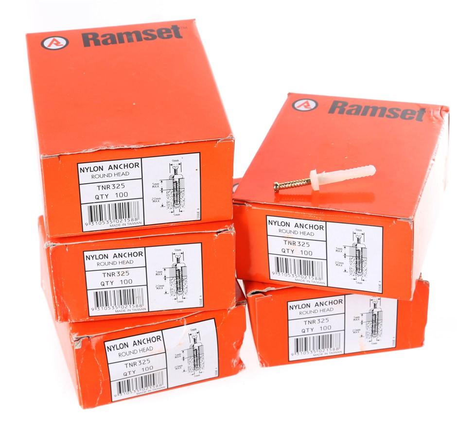 5 Packs of 100 x RAMSET Nylon Anchors 5mm x 25mm, Round Head. Buyers Note -