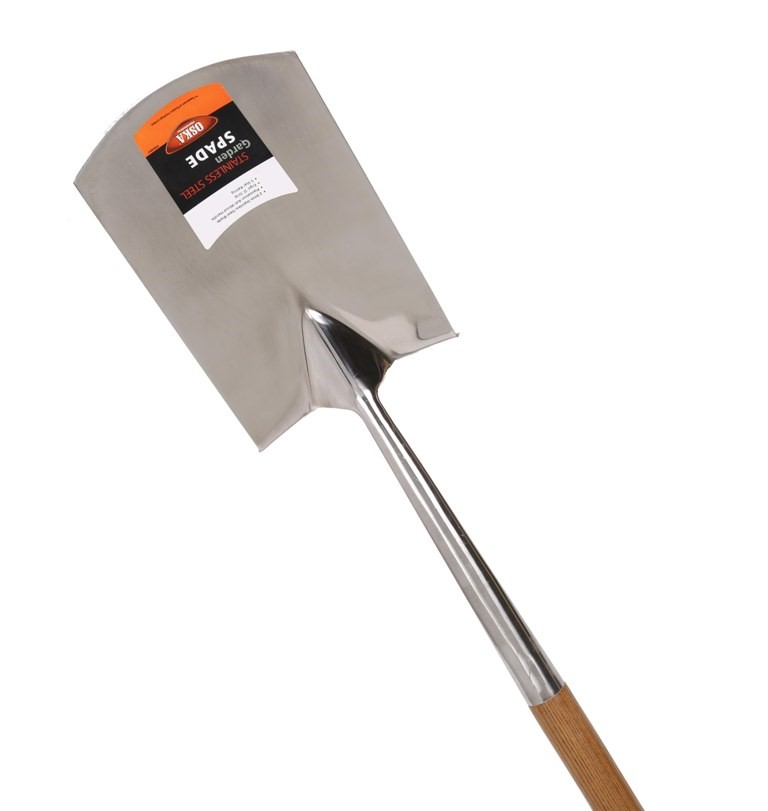 OSKA Stainless Steel Square Mouth Garden Spade, Ash Wood Handle with Ergo `