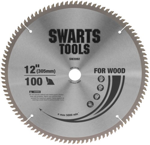 "Swarts Tools 305mm 12"" 100 Tooth Tungsten Carbide Tipped Saw Blade 25.4Mm"