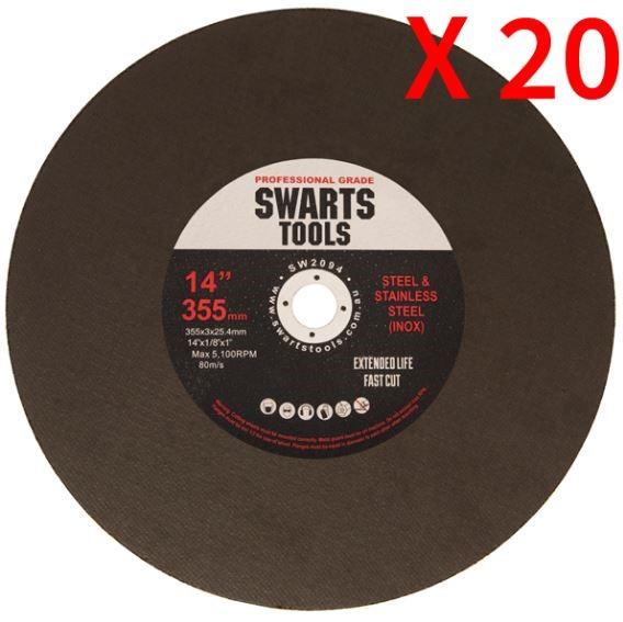 "20Pc 350Mm 355Mm 14"" Metal Chop Off Drop Saw Blades Cutting Discs Wheel"