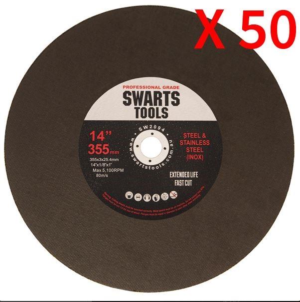 "50Pc 350Mm 355Mm 14"" MetalChop Off Drop Saw Blades Cutting Discs Wheel"