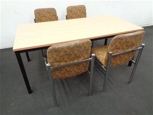 Timber laminate dining table 4 x chair set auction 0005 7016411 graysonline australia Timber home office furniture brisbane